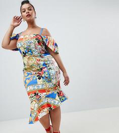 Платье миди с открытыми плечами и принтом ASOS DESIGN Curve - Мульти