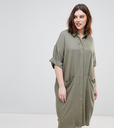 Платье-рубашка с короткими рукавами и драпированными карманами ASOS DESIGN Curve - Зеленый