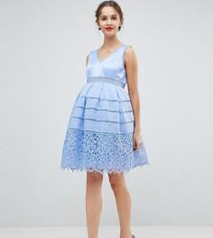 Платье для выпускного с кружевом Chi Chi London Maternity - Синий