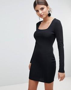 Облегающее платье в рубчик с квадратным вырезом Boohoo - Черный