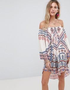 Пляжное платье с открытыми плечами Island Stories - Мульти