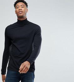 Черная футболка с отворачивающимся воротником ASOS TALL - Черный