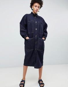 Платье с пышными рукавами ASOS WHITE - Синий
