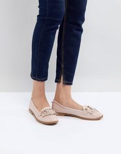 Туфли-слипоны на плоской подошве с кисточками Head Over Heels by Dune - Бежевый