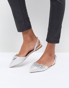 Серебристые остроносые туфли на плоской подошве Head Over Heels by Dune - Серебряный