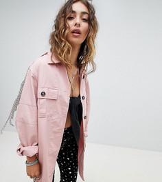 Джинсовая куртка-рубашка с цепочками Sacred Hawk - Розовый