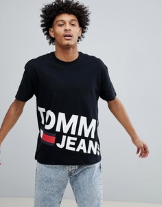 Черная футболка с большим логотипом-флагом Tommy Jeans - Черный