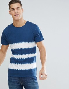 Синяя футболка с полосками и принтом тай-дай Bellfield - Темно-синий