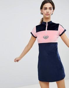Велюровое платье с воротником на молнии Lazy Oaf - Темно-синий