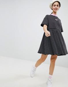 Свободное oversize-платье в полоску Lazy Oaf - Черный