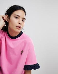 Oversize-футболка с нашивкой Lazy Oaf - Розовый