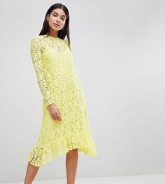 Кружевное свободное платье миди с оборкой ASOS DESIGN Tall - Желтый