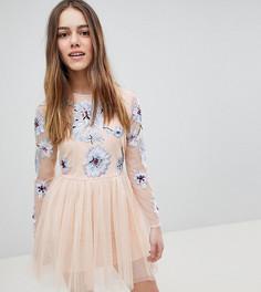 Платье мини с вышивкой ASOS DESIGN Petite - Розовый
