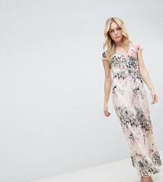 Платье макси на пуговицах с цветочным принтом Little Mistress Tall - Мульти
