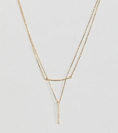 Позолоченное серебряное ярусное ожерелье с планкой DesignB London - Золотой
