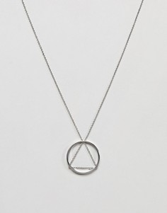 Ожерелье с треугольной подвеской и подвеской-кольцом Cheap Monday - Серебряный