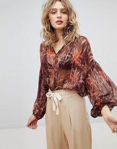 Полупрозрачная блузка с принтом Maison Scotch - Мульти