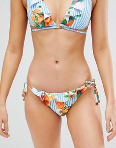 Плавки-бикини с завязками по бокам и цветочным принтом River Island - Синий