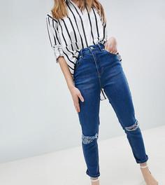Узкие рваные джинсы в винтажном стиле с завышенной талией ASOS DESIGN Petite - Синий