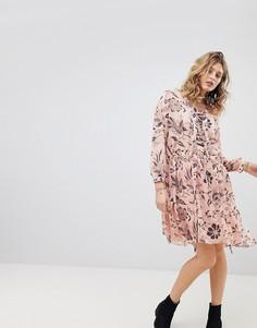 Свободное платье с принтом и шнуровкой Maison Scotch - Розовый