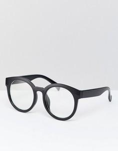 Круглые очки с прозрачными стеклами в черной оправе Reclaimed Vintage Inspired эксклюзивно для ASOS - Черный