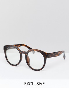 Очки с прозрачными стеклами в черепаховой оправе Reclaimed Vintage Inspired эксклюзивно для ASOS - Коричневый