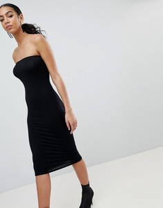 Платье-бандо миди PrettyLittleThing - Черный