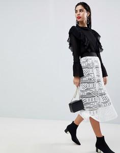 Кружевная плиссированная юбка миди Sisley - Кремовый