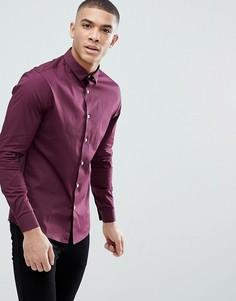 Бордовая приталенная рубашка ASOS DESIGN - Красный