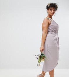 Платье миди с запахом и отделкой TFNC Plus Bridesmaid - Серый