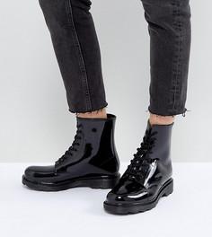 Резиновые ботинки на шнуровке для широкой стопы ASOS GLOBAL - Черный