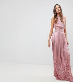 Платье макси с высоким воротом и кружевной юбкой Little Mistress Tall - Розовый