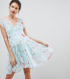 Свободное платье из сетки с цветочным принтом ASOS MATERNITY - Мульти