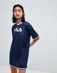 Сетчатое платье-футболка в стиле oversize с контрастной отделкой кантом Fila - Темно-синий