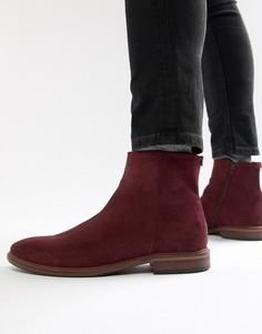 Бордовые замшевые ботинки челси с натуральной подошвой ASOS - Красный
