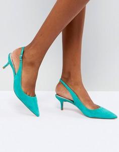 Сине-зеленые замшевые туфли с ремешком через пятку и каблуком-рюмочкой Dune - Зеленый