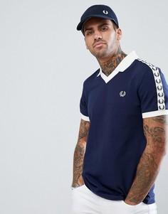 Поло темно-синего цвета с полосой из ленты Fred Perry Sports Authentic - Темно-синий
