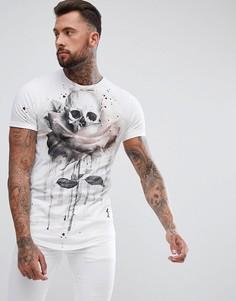 Длинная футболка с принтом и асимметричным подолом Religion - Белый