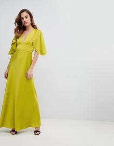 Атласное платье макси с расклешеннмыи рукавами ASOS DESIGN - Зеленый