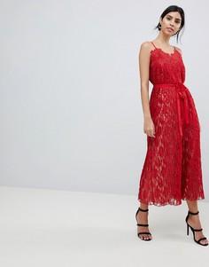 Кружевное платье макси на бретелях Little Mistress - Красный
