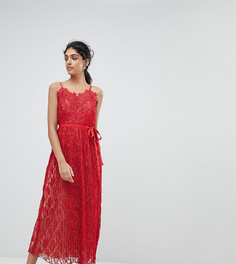 Кружевное платье на бретельках Little Mistress Tall - Красный