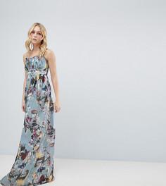 Платье макси с цветочным принтом Little Mistress Tall - Мульти