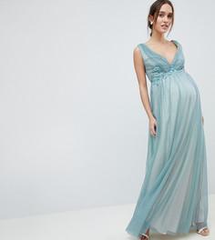 Платье макси из тюля с вышивкой Little Mistress Maternity - Синий