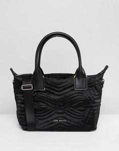 Маленькая стеганая сумка-тоут из нейлона Ted Baker - Черный