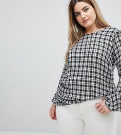 Блузка в клетку с оборками Zizzi - Черный