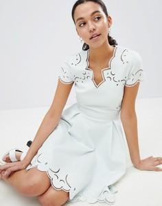 Короткое приталенное платье с вышивкой и V-образным вырезом Ted Baker - Зеленый