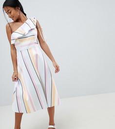Платье миди на одно плечо в полоску пастельных оттенков ASOS DESIGN Petite - Мульти