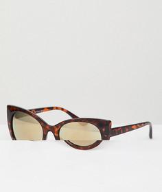 Солнцезащитные очки кошачий глаз в черепаховой оправе AJ Morgan - Коричневый