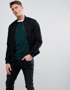 Черная хлопковая куртка-пилот New Look - Черный