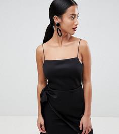 Платье мини с запахом ASOS DESIGN Petite - Черный